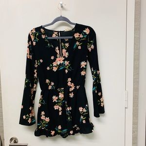Pins and Needles black floral playsuit